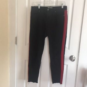 Black With Red Stripes Jeans